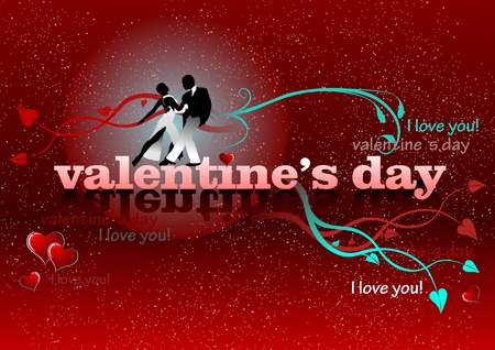 Valentine`s Day red background with tango pair. 14 February. vector illustration illustration