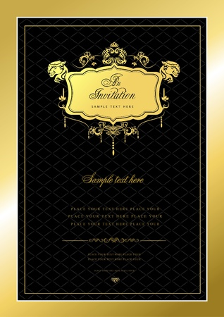 Invitation gold card. Wedding or Valentine`s Day. Vector illustrationv illustration