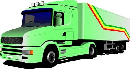 Vector illustration of green  truck illustration