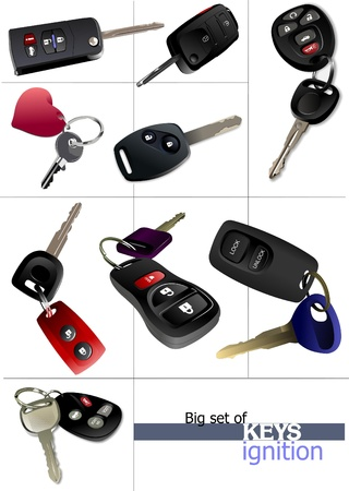 Big set of ignition car keys with remote control isolated over white background . Vector illustration Stock Illustration - 9569970