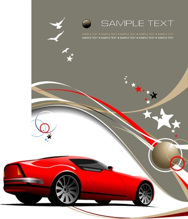 Light brown business background with red sport  car image. Vector illustration illustration