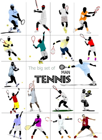 lawn tennis: Big set of Man Tennis player. Colored Vector illustration for designers Stock Photo