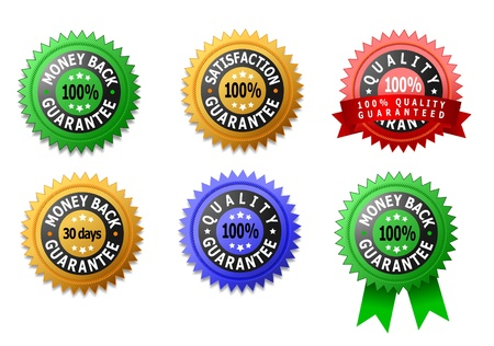 Vector labels for satisfaction, quality and money back guaranteed photo