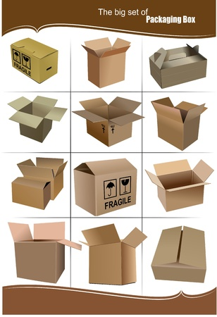 packaging move: Big Set of carton packaging boxes isolated over a white background
