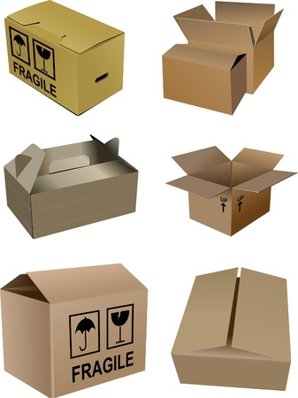 Set of carton boxes isolated over a white background photo