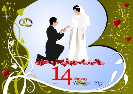 Valentine`s Day  Greeting Card with bride and groom. Vector illustration. Invitation card illustration