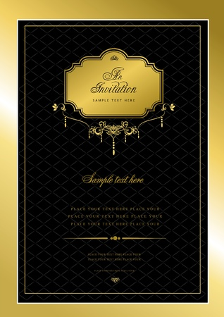 Invitation gold card. Wedding or Valentine`s Day. Vector illustration illustration