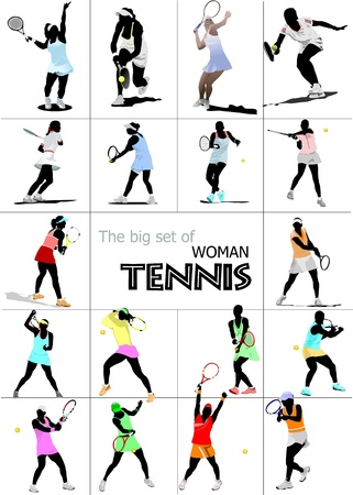 lawn tennis: Big set of Woman Tennis player. Colored Vector illustration for designers