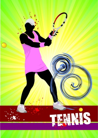 Woman Tennis player poster. Colored Vector illustration for designers illustration