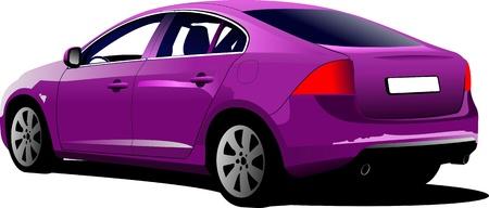 purple car: Purple colored car sedan on the road. Vector illustration