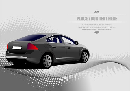 Grey colored car sedan on the road. Vector illustration