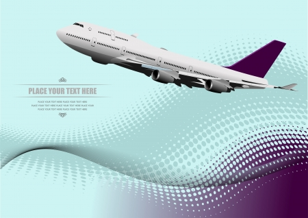 halftone: Corporate Business Technology Background with plane image � Vector Illustrationv