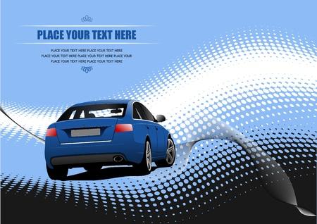 shiny car: Blauw gekleurde auto sedan op de weg. Vector illustratie