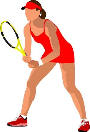 tennis racquet: Cartel de jugador de tenis de mujer. Color ilustraci�n vectorial para dise�adores