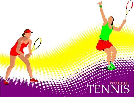 Poster van vrouw tennisser. Gekleurde vectorillustratie voor ontwerpers