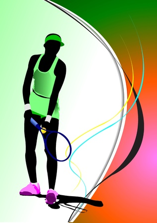 Poster of Woman Tennis player. Colored Vector illustration for designers Vector