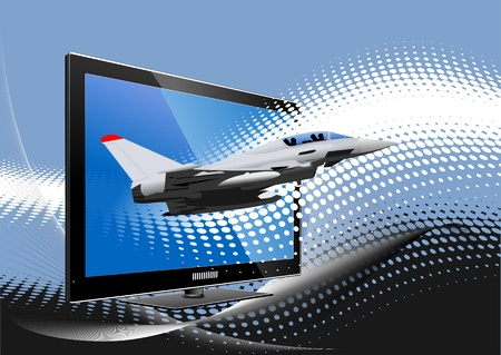 Blue dotted background with Flat computer monitor with air force combat . Display. Vector illustration Vector
