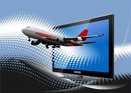 Blue dotted background with Flat computer monitor with airplane . Display. Vector illustration Stock Vector - 9570252
