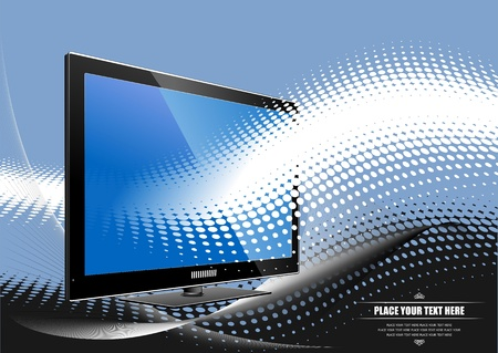 tv monitor: Blue dotted background with Flat computer monitor. Display. Vector illustration