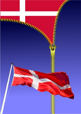 danish flag: Zipper open Danish flag. Flag of Denmark.