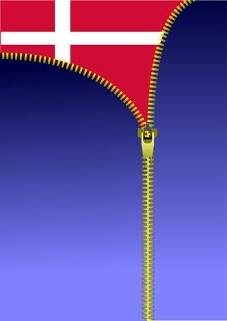Zipper open Danish flag. Flag of Denmark.  Stock Vector - 9570094