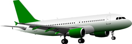 mode of transport: Avi�n de pasajeros. En el aire. Ilustraci�n vectorial