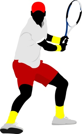 servir: Man Tennis player. Colored Vector illustration for designers