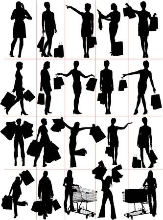 Woman shopping  silhouettes. Vector illustration Illustration
