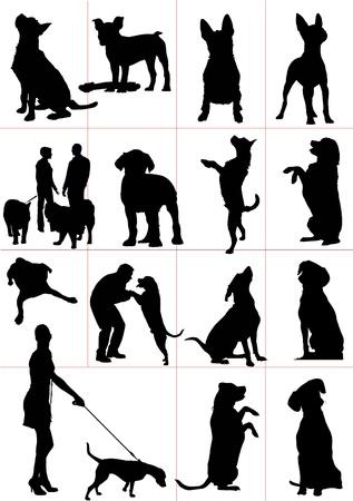 cocker: Satz von Hunden Silhouette. Vector illustrationv Illustration