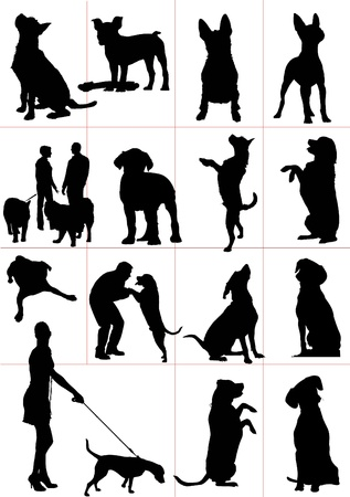 boxer: Set of dogs silhouette. Vector illustrationv