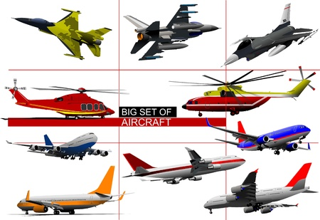 fighter pilot: Big set of aircraft. Vector illustration
