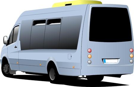 decker: City and Tourist minibus. Vector illustration Illustration