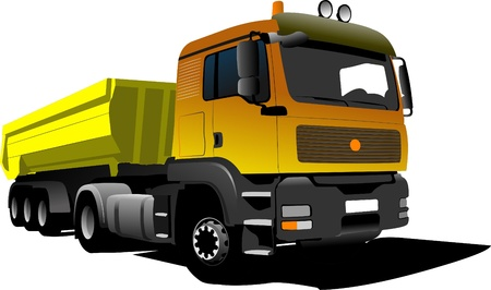 speedster: Yellow truck on the road. Vector illustration