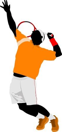 tennis racquet: Tenista de hombre. Color ilustraci�n vectorial para dise�adores