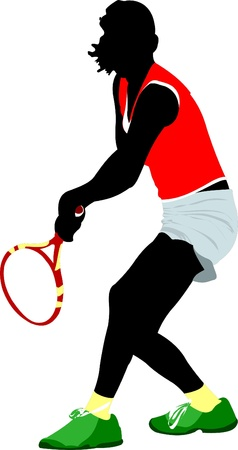 servir: Woman Tennis player. Colored Vector illustration for designers Ilustra��o