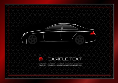 flown: White silhouette of car on black background. Vector illustration Illustration