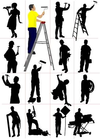 trabajadores: Siluetas de los trabajadores. Hombre y mujer. Ilustraci�n vectorial Vectores