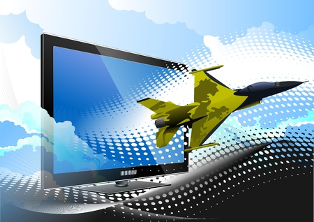 Blue dotted background with Flat computer monitor and air force combat. Display. Vector illustration Stock Vector - 9570285