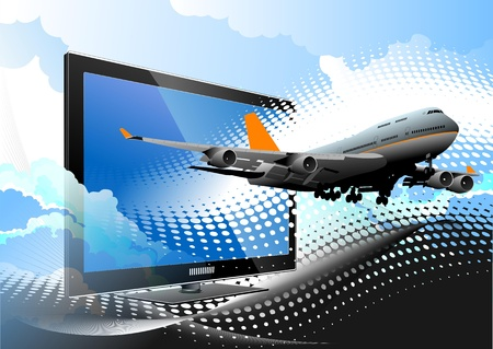Blue dotted background with Flat computer monitor with passenger plane. Stock Vector - 9570296