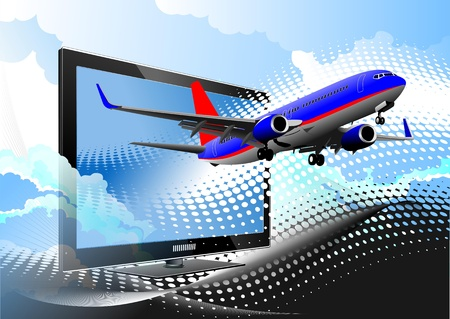 Blue dotted background with Flat computer monitor with passenger plane. Stock Vector - 9570318