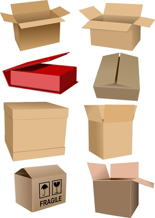Big Set of carton packaging boxes isolated over a white background Vector