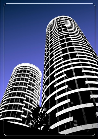 corporate building: Black and white building silhouette on sky background. Vector illustration