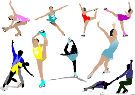 figure skating: Figure skating colored silhouettes. Vector illustration Illustration