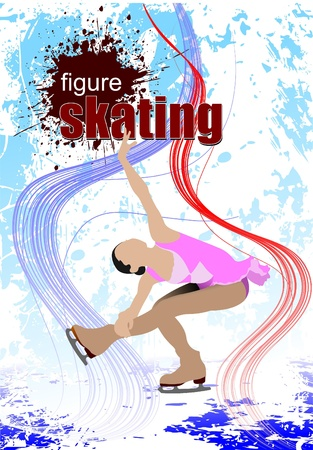 Figure skating colored silhouettes. Vector illustration Stock Vector - 9570253