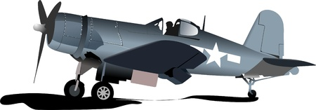 Old military combat. Plane. Air force. Vector illustration Vector