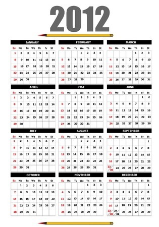 2012 calendar with flower image. Vector illustration  Vector