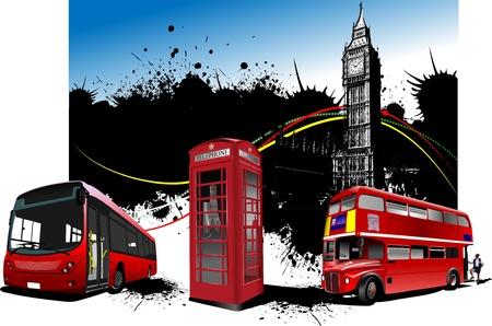 cabina telefono: Im�genes de rareza rojo de Londres. Ilustraci�n vectorial