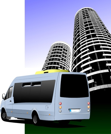 minibus: Blue colored minibus on the road and city silhouette. Vector illustration