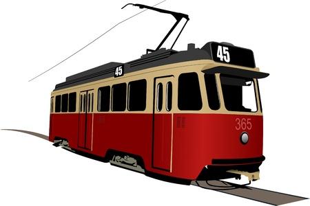 tram: City transport. Tram. Vector illustration Illustration