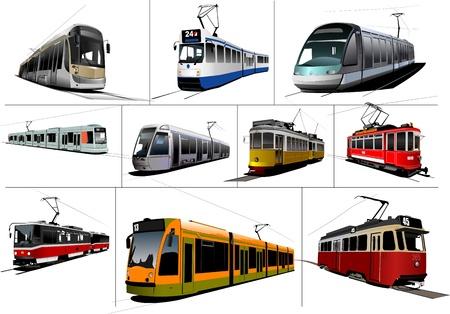 tramcar: City transport. Ten kinds of Tram. Vintage and modern. Vector illustration